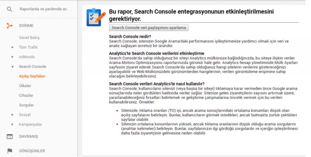 google analiytics search console 1024x520 - Google Analytics Kullanım Rehberi - Edinmeye Genel Bakış